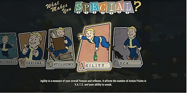 An agility perk card with vault boy balancing by one finger on a glass bottle