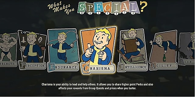 A charisma perk card with vault boy giving pistol fingers
