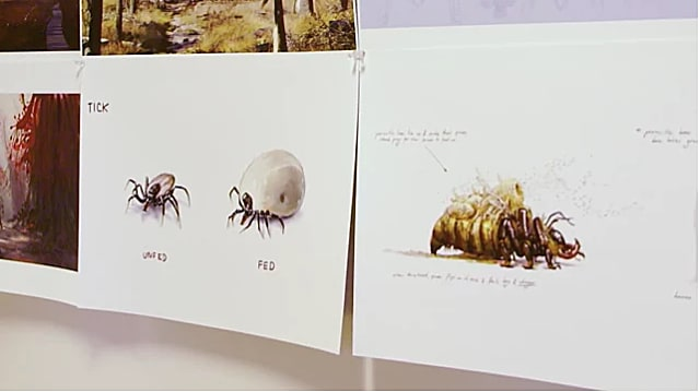 Concept images in an office show a tick and another insect in FO76