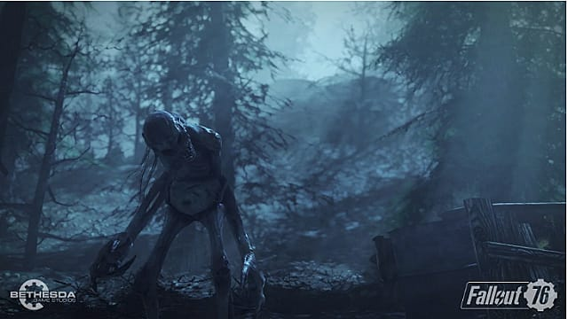 A ghoul stands in the forest with blue moonlight shining down