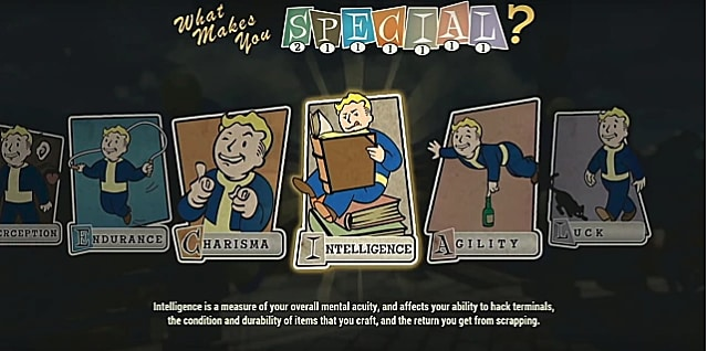 An intelligence perk card with vault boy reading a book while sitting on books