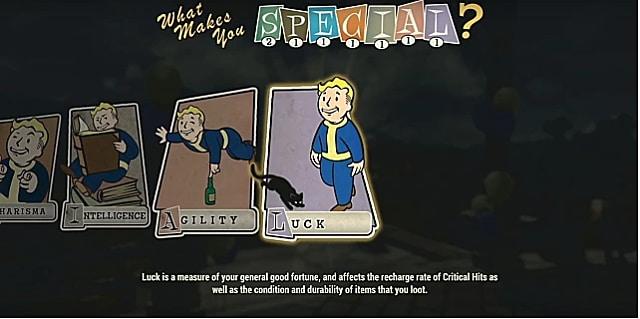 A luck perk card with vault boy walking toward a black cat
