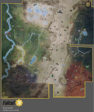 The full Fallout 76 map in top-down, classic Fallout style