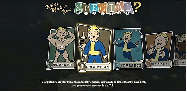 A perception perk card with vault boy in vault gear with nose and hand to his right