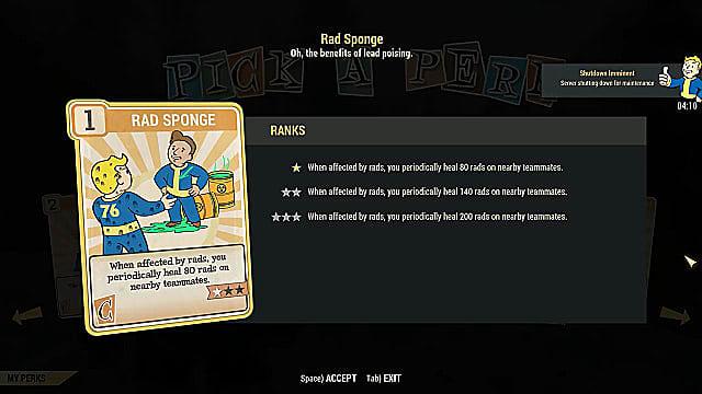 FO76 Rad Sponge Perk