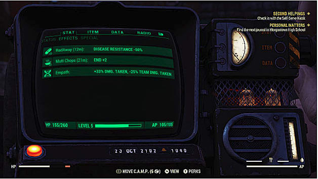 A Fallout 76 Pipboy shows status effects on a green screen