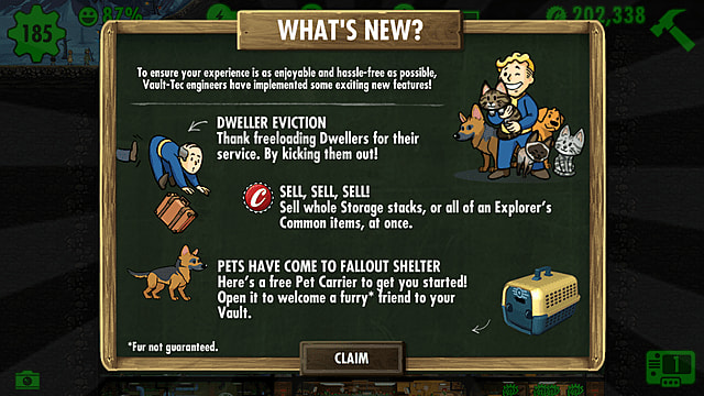 Fallout shelter holiday update infographic.