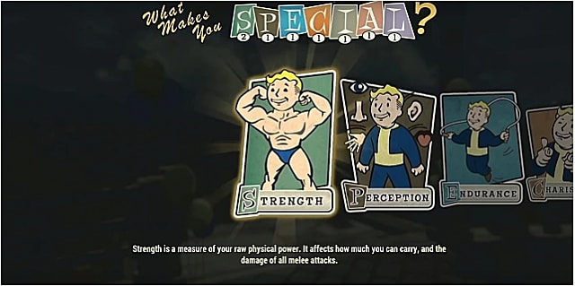 Strength perk card with a muscled vault boy flexing his muscles
