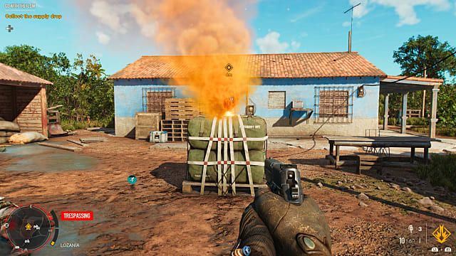 Supply drop with yellow smoke.