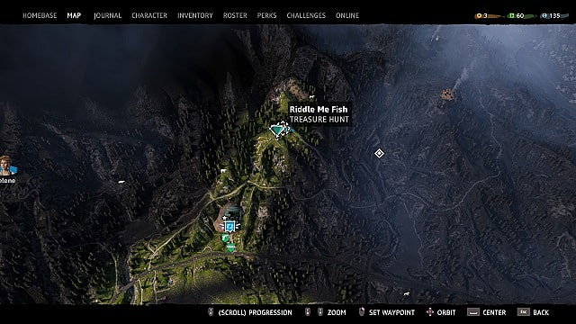 Map showing Riddle Me Fish Treasure Hunt Location