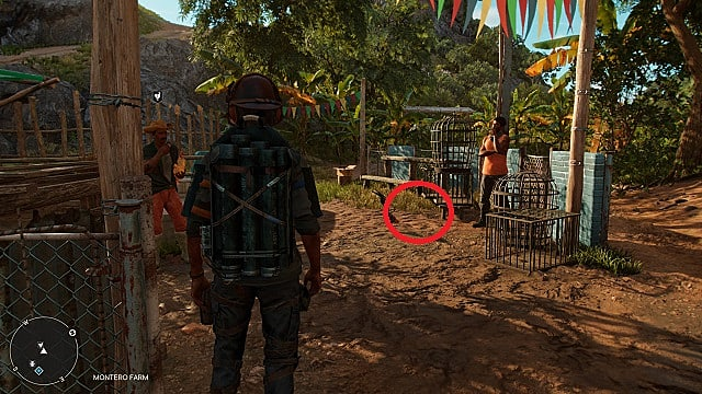 Screenshot of El Rato's in-game location at the cockfighting ring.