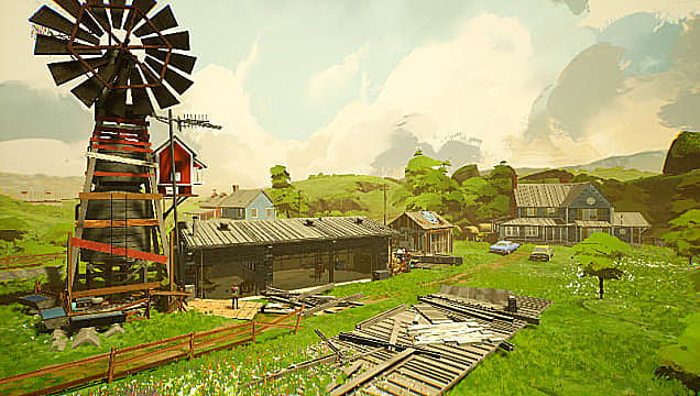 Establishing shot of a bucolic farm with a windmill, barn, and house.