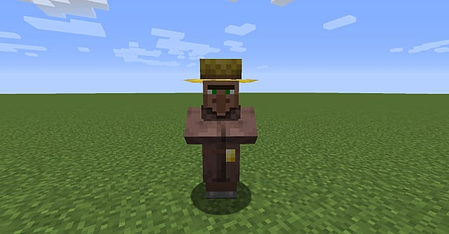 A farmer villager in Minecraft.
