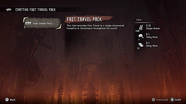 An inventory screen showing the fast travel pack and the components needed to craft it.