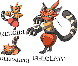 Felclaw evolutions, from kitten to cat.