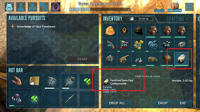 A player's inventory in Ark Mobile