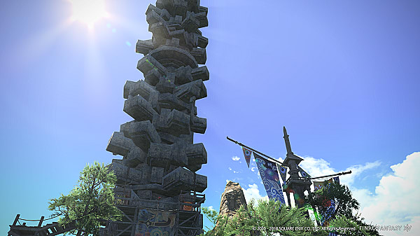 Towering structure from FFXIV Stormblood patch 4.3, Under the Moonlight