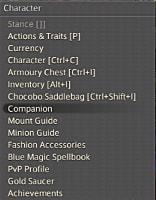 FFXIV companion menu.