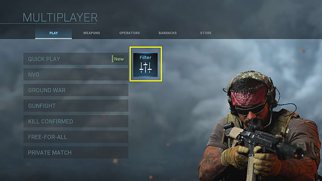 Call of Duty Modern Warfare hardcore mode filter in multiplayer menu.
