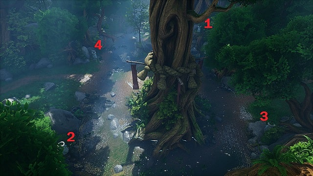 An aerial shot of the Fishing Shrine puzzle solution in the Forgotten Forest.