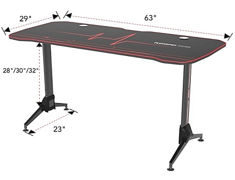 A render of the Flexispot ergonomic gaming desk showing its dimensions.
