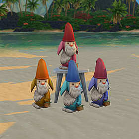 Four gnomes with floppy ears and bunny noses.