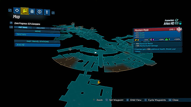 Map showing the Force Trooper location in Borderlands 3.