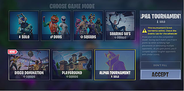 The choose your game mode screen showing various fortnite events and modes