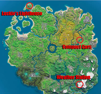 Fortnite map showing dance challenge locations for Compact Cars, Luckie's Lighthouse, and Weather Station.