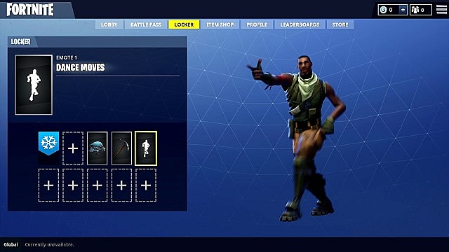 A player in the Fortnite menu shows off a dance emote