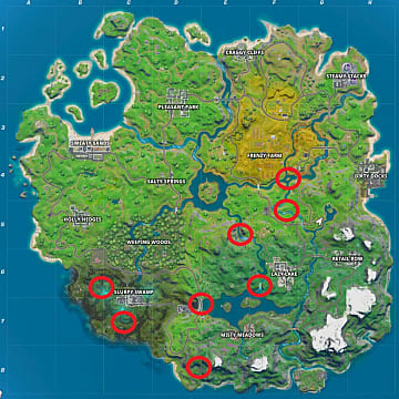 Fortnite Flaming Rings map locations in Chapter 2.