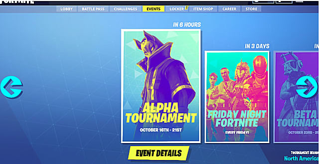 The main Fortnite screen showing the tournament selection tab
