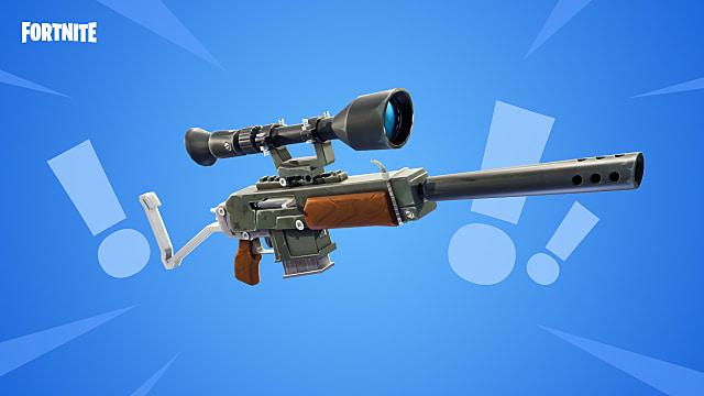 A scoped rifle from Fortnite set against a blue backdrops with exclamation points