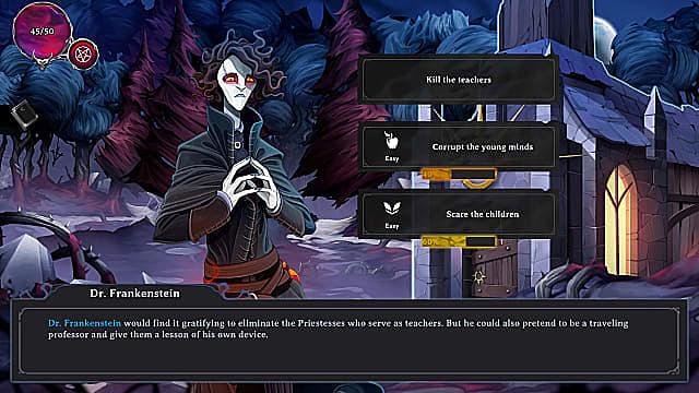 A gaunt Dr. Frankenstein in a black cloak alongside dialog choices.