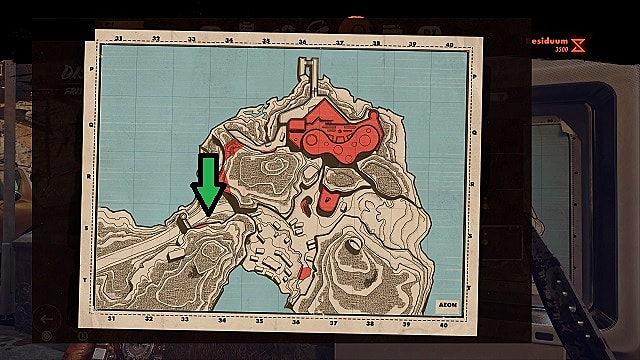 A map of Firstad Rock showing the location of a Gideon Fry kiosk.