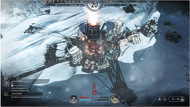 Settlement grows out from around the generator in Frostpunk