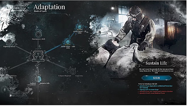 The law signing screen in Frostpunk showing the sustain life law