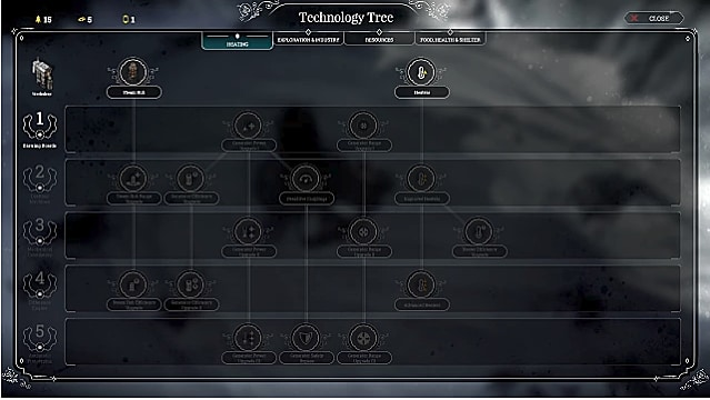 An empty tech tree with black background
