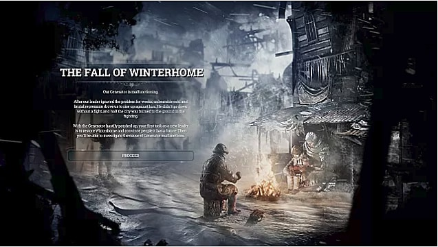 A Fall of Winterhome splash screen shows man, woman, child sitting by fire