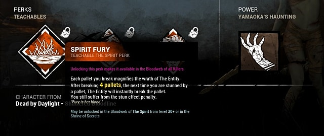 A perks card showing the Spirit Fury perk