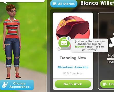 an alterations associate in the sims mobile