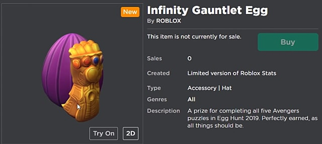 Infinity gauntelet egg in Roblox menu