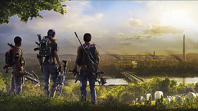 Three soldiers in the division 2 looking out over a Washington on fire.