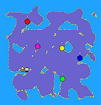 Muck map showing five gem locations and the shipwreck site.