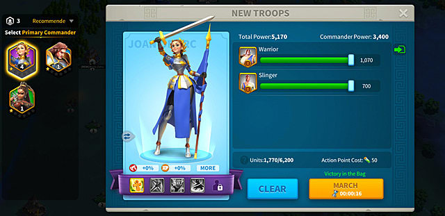 a New Troops card shows Joan of Arc holding a sword above her head and a flag in her left hand