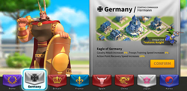 The civilization selection screen shows Germany, with a warrior clad in gold holding a large shield and sword over shoulder