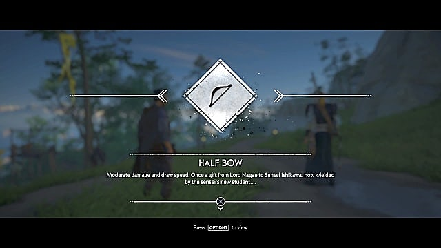 A screen showing the halfbow and a description of its moderate damage and speed.