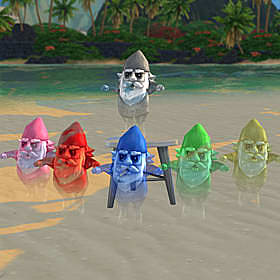 six ghostly, transparent gnomes, one pink, one red, one blue, one green, one yellow, and one grey.