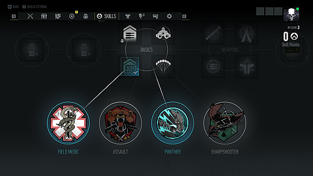 The classes in Ghost Recon Breakpoint in the skills screen