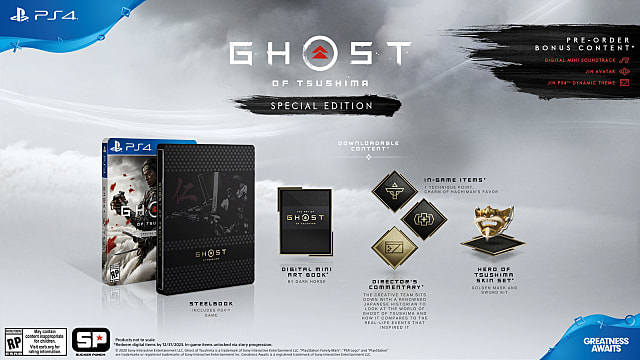 Ghost of Tsushima Special Edition content and bonuses.
